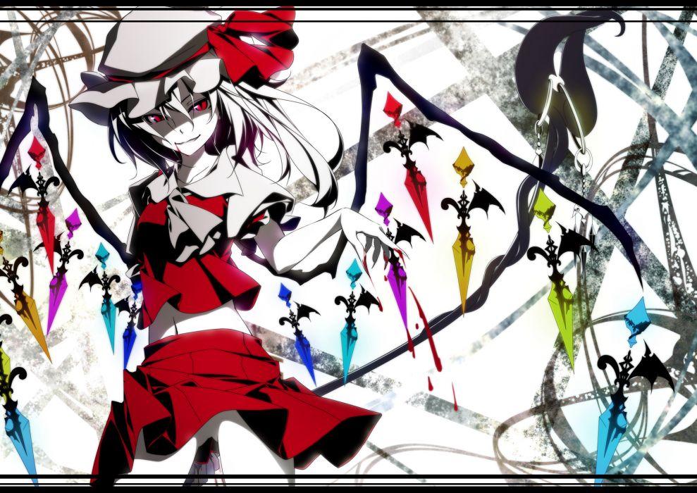 blood flandre scarlet hat matsuyama nozomu red eyes touhou wings wallpaper