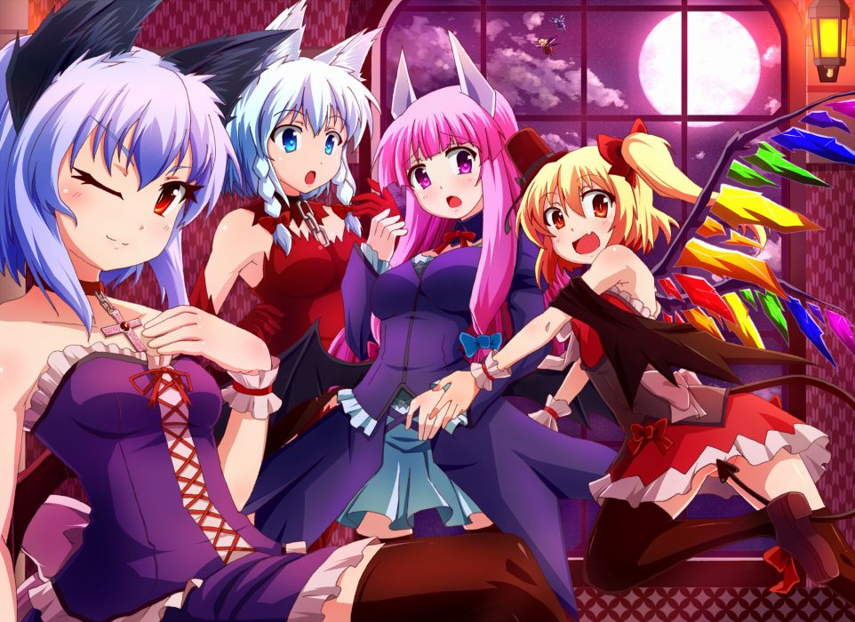blue eyes byoubyou catgirl cirno collar cross fang gloves gray hair group moon pink hair red eyes rumia tail thighhighs touhou vampire wings wallpaper