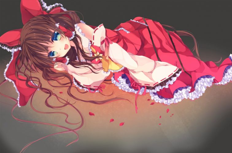 bow dress hakurei reimu kisaragi kiriha petals touhou transparent wallpaper