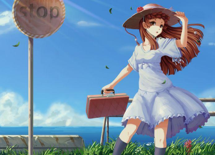 brown hair hat mushi mu kokoro summer dress wallpaper