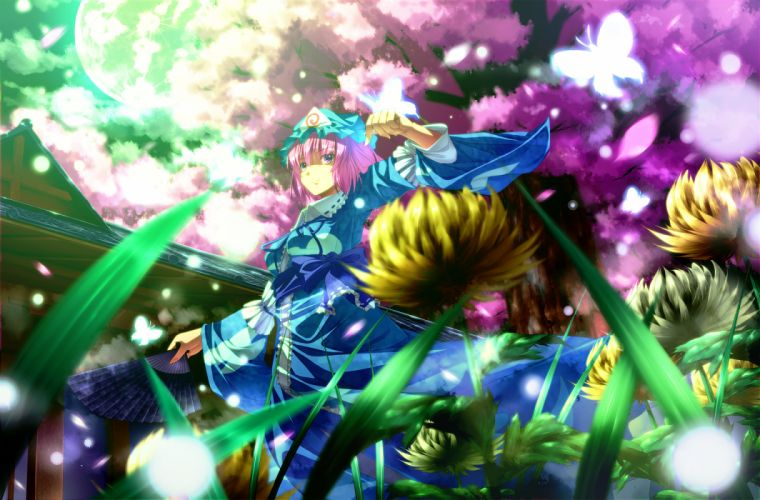 butterfly fan flowers moon petals ryosios saigyouji yuyuko touhou wallpaper