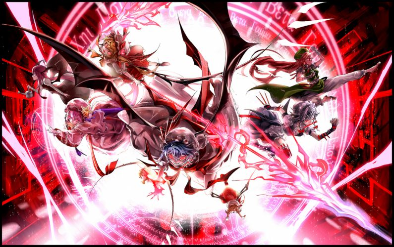 flandre scarlet hong meiling izayoi sakuya koakuma kozou patchouli knowledge remilia scarlet touhou wings wallpaper