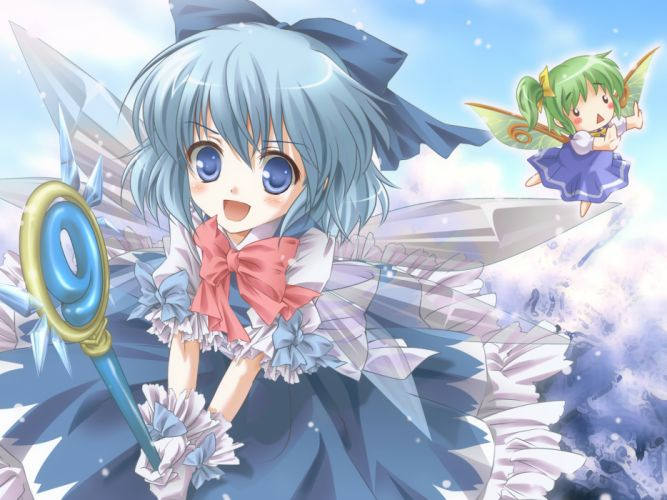 girls blue eyes blue hair blush card captor sakura chibi cirno daiyousei gloves green hair moneti (daifuku) parody short hair touhou wallpaper