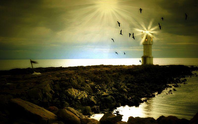 sea lighthouse landscape style wallpaper