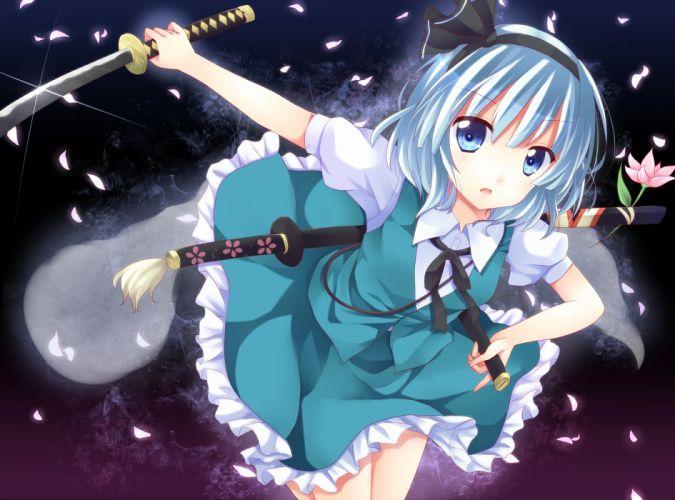 ikeda hazuki katana konpaku youmu sword touhou weapon wallpaper