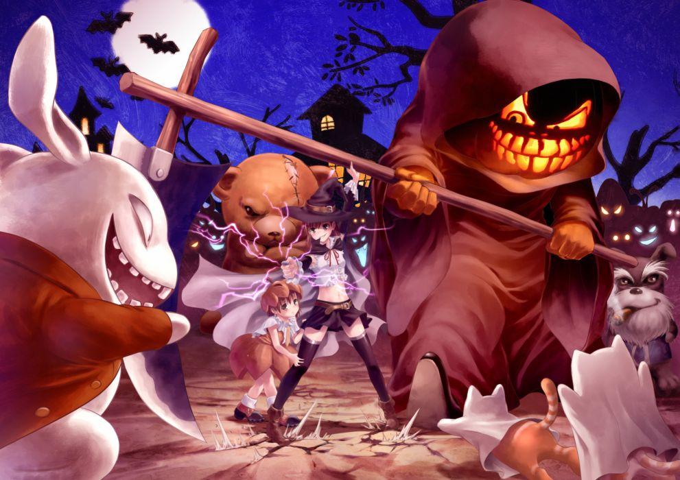 animal halloween last order misaka mikoto misakamitoko0903 scythe to aru kagaku no railgun to aru majutsu no index weapon wallpaper
