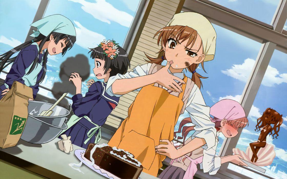 apron cake misaka mikoto saten ruiko shirai kuroko to aru kagaku no railgun to aru majutsu no index uiharu kazari wallpaper