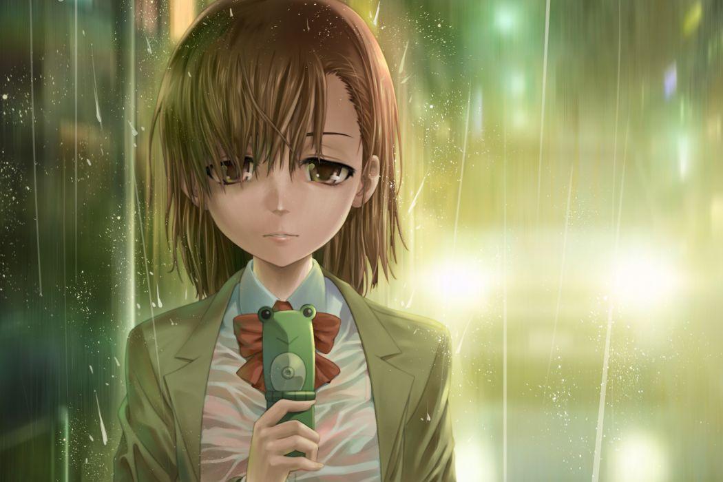 brown eyes brown hair misaka mikoto misakamitoko0903 phone rain see through short hair to aru kagaku no railgun to aru majutsu no index wet wallpaper