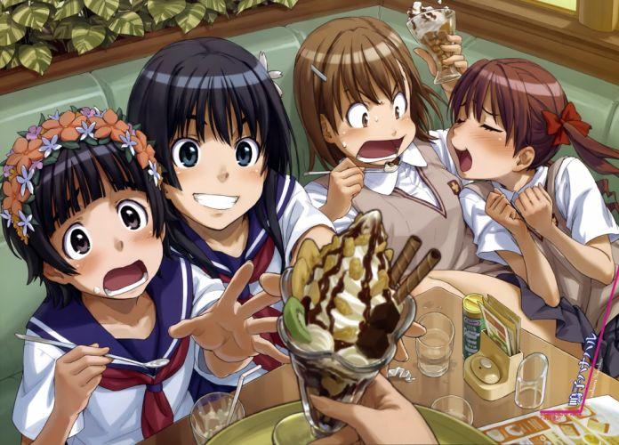 food misaka mikoto naruko hanaharu saten ruiko shirai kuroko to aru kagaku no railgun to aru majutsu no index uiharu kazari wallpaper