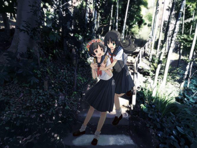 forest iwamoto maguro saten ruiko seifuku stairs to aru kagaku no railgun to aru majutsu no index tree uiharu kazari wallpaper