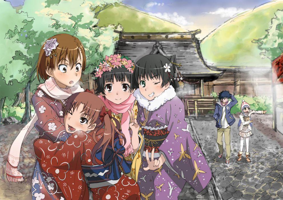 index kamijou touma misaka mikoto saten ruiko shirai kuroko to aru kagaku no railgun to aru majutsu no index uiharu kazari wallpaper