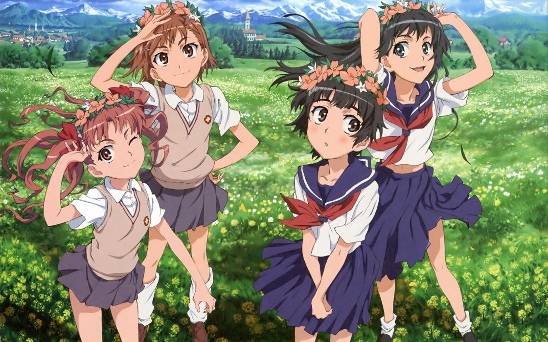 misaka mikoto nishimura hiroyuki saten ruiko seifuku shirai kuroko to aru kagaku no railgun to aru majutsu no index uiharu kazari wallpaper