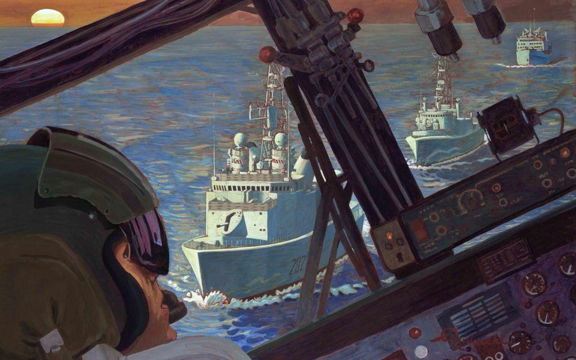 art Richard Rudnicki navy aircraft cockpit pilot cockpit First Gulf War the first the war in the Persian Gulf_ military wallpaper