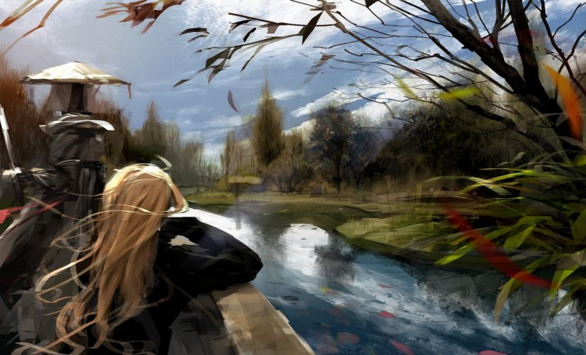 drawing art girl long haired blonde river trees wind clouds wallpaper