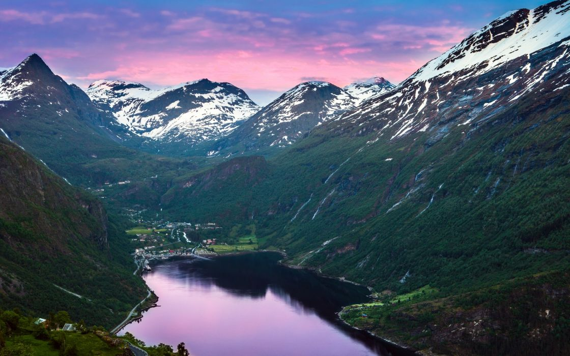 Norway fjord mountains lake reflection wallpaper