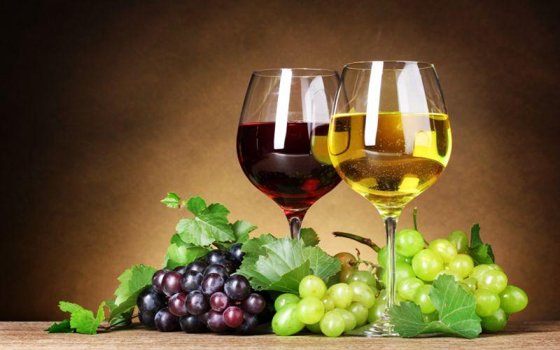 wine red white grapes berries leaves glasses fruit wallpaper
