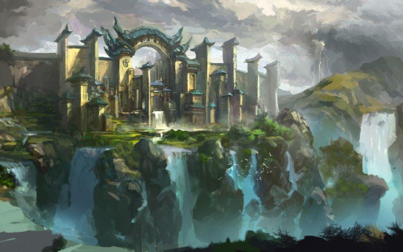 art landscape city castle cliffs waterfalls birds fantasy wallpaper