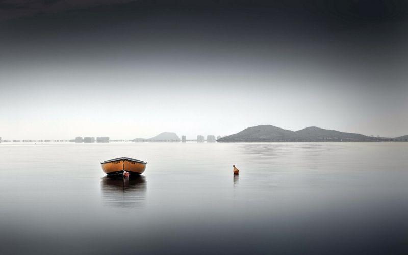 boat buoy mountains horizon sky lakes sea ocean reflection wallpaper