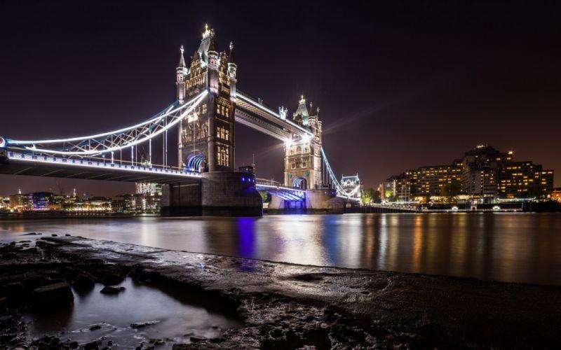 London river bridge city reflection wallpaper