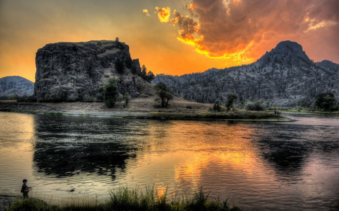 river  mountain  sunset  fisherman  landscape reflection wallpaper