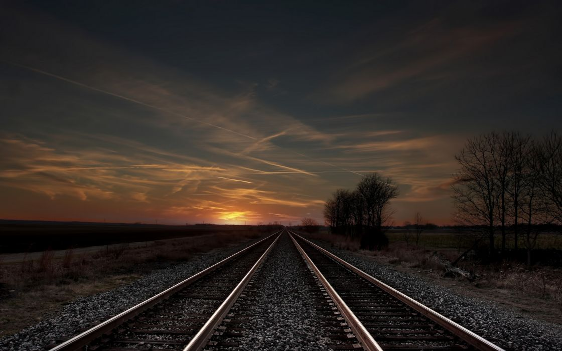track field sunset evening trees railroad wallpaper