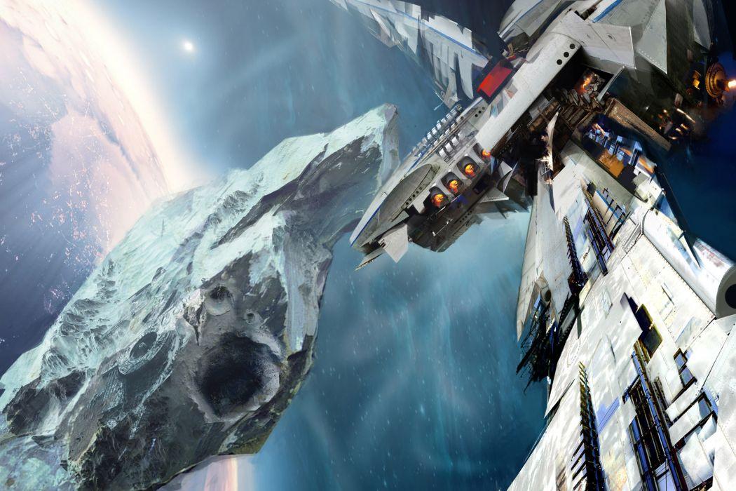 Leviathan Wakes Spaceship Drawing Planet wallpaper