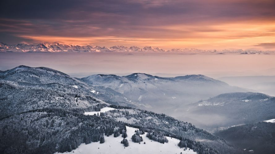 Mountains Landscape Snow Winter Fog Mist wallpaper