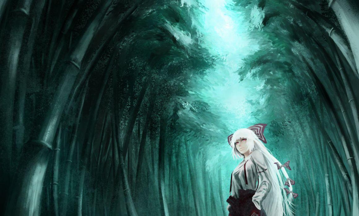 akaikitsune bow forest fujiwara no mokou long hair ribbons touhou tree white hair wallpaper