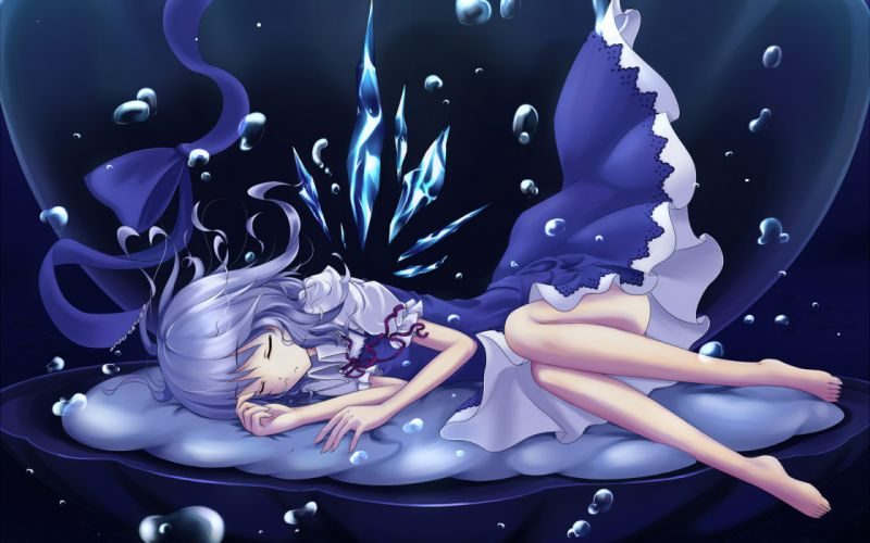 animal barefoot blue hair bubbles cirno cloudy_r dress fish shell sleeping touhou underwater wallpaper