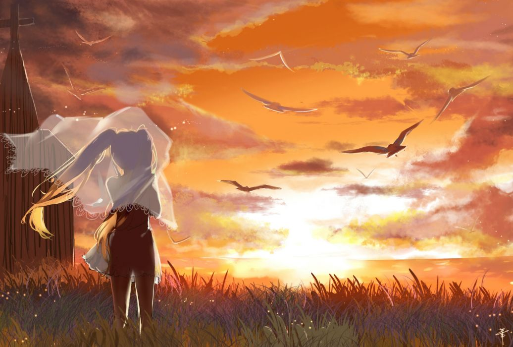 animal bird clouds cross dress grass hatsune miku see through signed sky sunset twintails vocaloid xuehua wallpaper