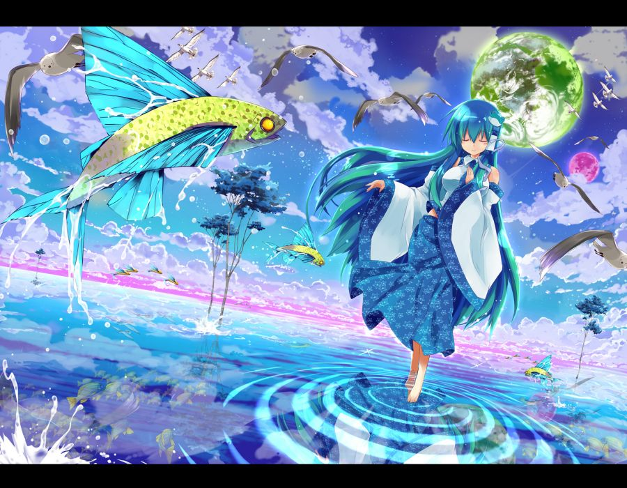 animal bird clouds fish kochiya sanae kurokawa izumi sky stars touhou tree water wallpaper