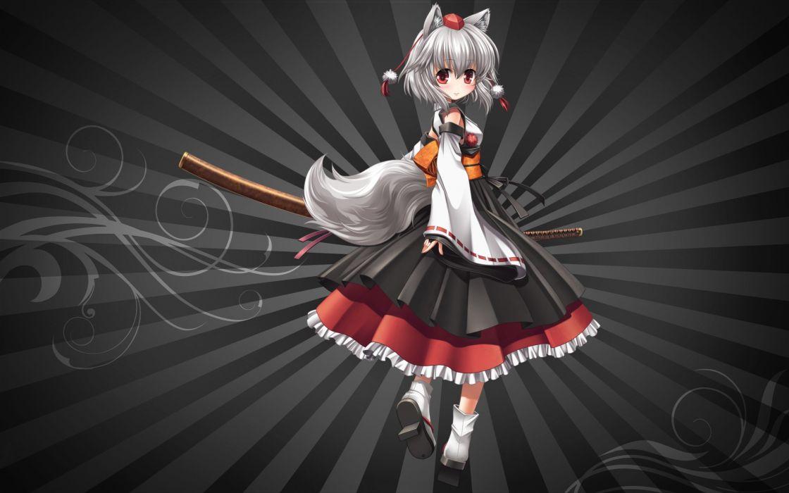 animal ears gray hair inubashiri momiji katana sword tail touhou weapon wallpaper