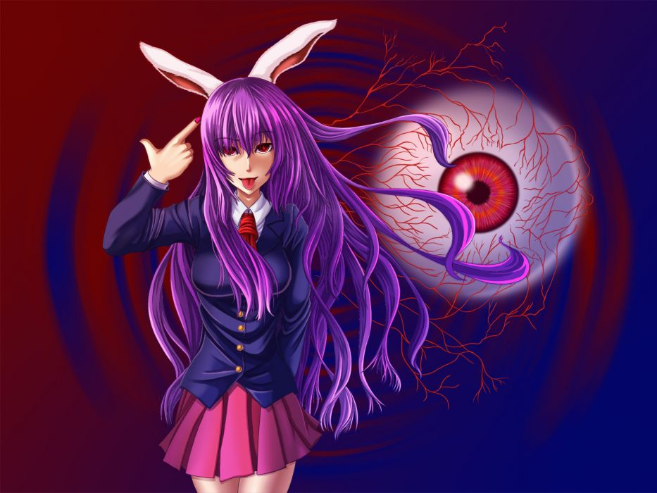 animal ears long hair purple hair red eyes reisen udongein inaba skirt tie touhou wallpaper