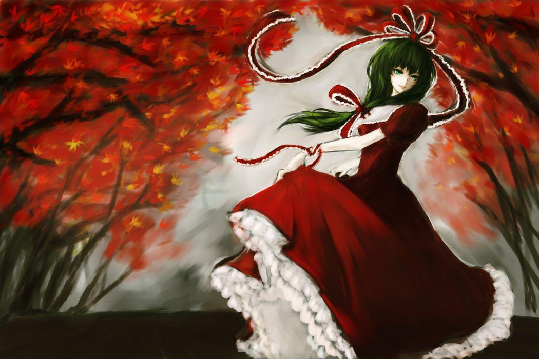 aqua eyes autumn bigred bow dress green hair kagiyama hina long hair touhou tree wallpaper