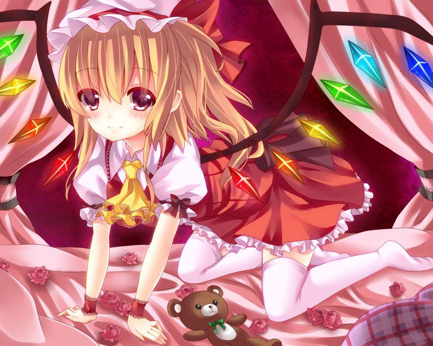 bed blonde hair dress flandre scarlet flowers hat ikeda hazuki red eyes teddy bear thighhighs touhou wings wallpaper