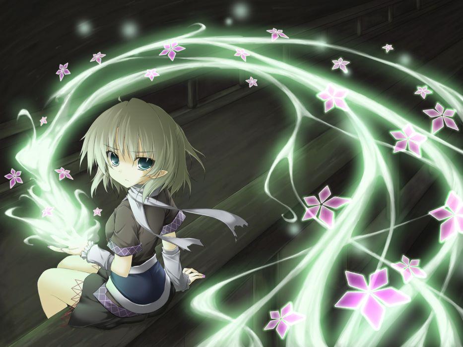 blonde hair cherry blossoms green eyes miyupon mizuhashi parsee scarf short hair touhou wallpaper