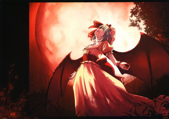 blood blue hair dress hat himorogi moon night red eyes remilia scarlet short hair touhou vampire watermark wings yasuyuki wallpaper