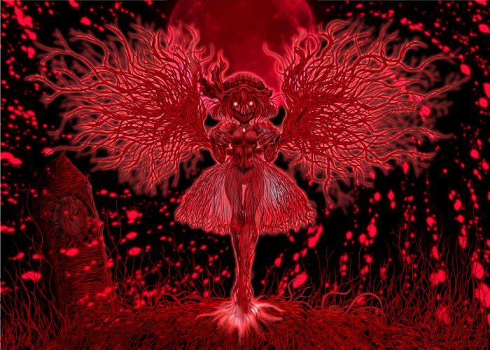 blood hat madara inosuke moon red red eyes remilia scarlet tentacles touhou wings wallpaper