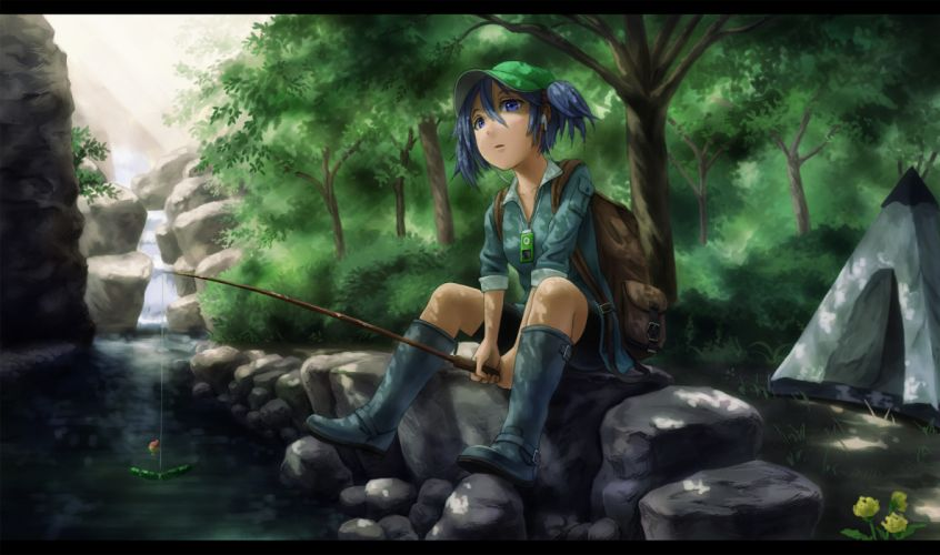 blue eyes blue hair boots food forest hat headphones ipod kawashiro nitori kurione (zassou) scenic touhou tree twintails water waterfall wallpaper