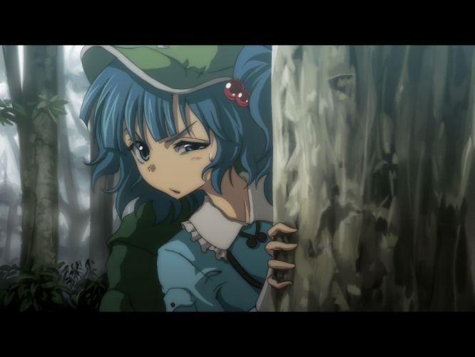 blue eyes blue hair close forest hat hyuuga azuri kawashiro nitori short hair touhou tree twintails wallpaper