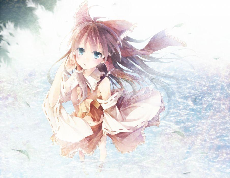 blue eyes brown hair hakurei reimu long hair skirt skirt lift toosaka asagi touhou wallpaper
