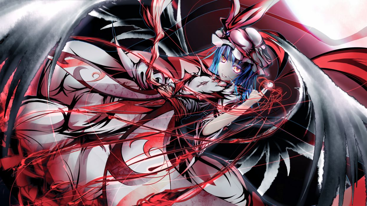 blue hair garyljq hat remilia scarlet short hair touhou vampire wings yellow eyes wallpaper