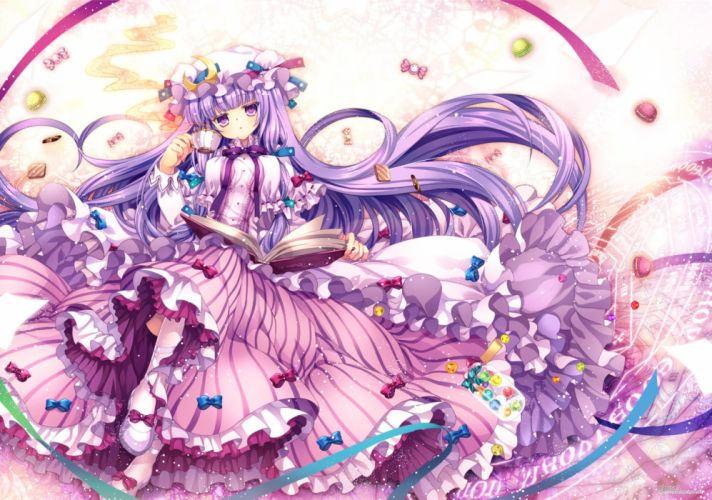 book bow candy capura lin drink food hat long hair patchouli knowledge purple eyes purple hair touhou wallpaper