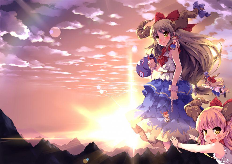 bow chain clouds dress horns ibuki suika long hair pink hair sinchi sky sunset touhou yellow eyes wallpaper