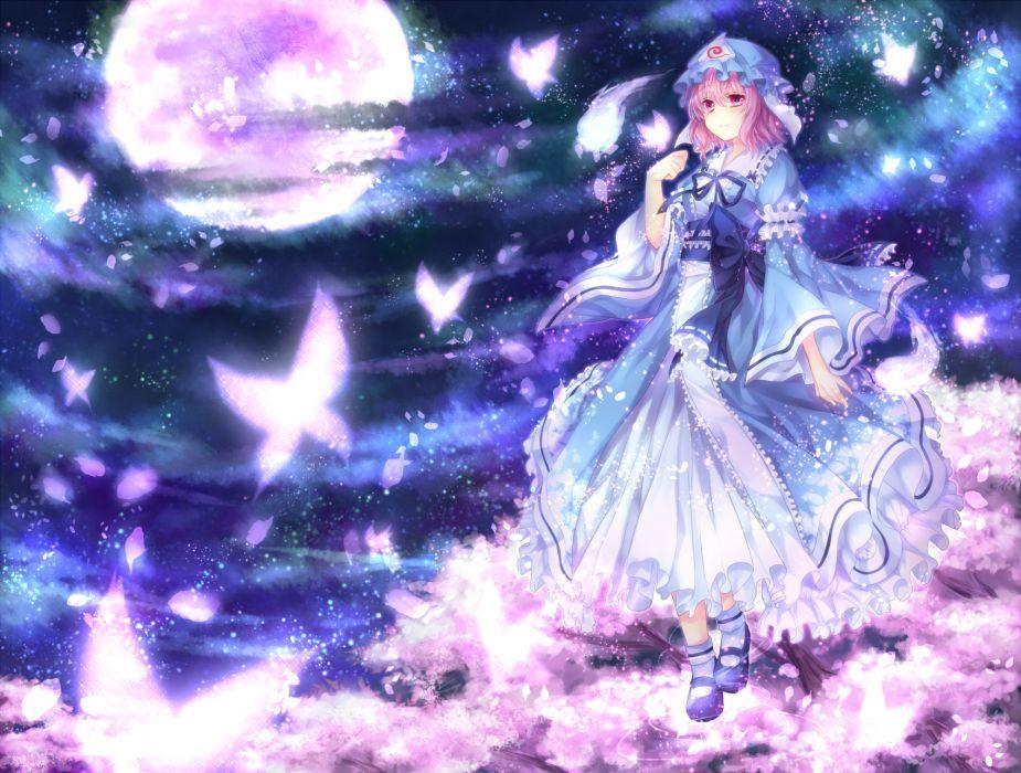 brown hair butterfly dress hat moon night petals pink eyes saigyouji yuyuko short hair sky touhou yuuna minato wallpaper