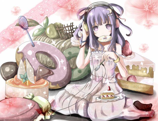 cake candy dress flowers food fruit headphones kuroneko-w-b patchouli knowledge purple eyes purple hair strawberry touhou wallpaper