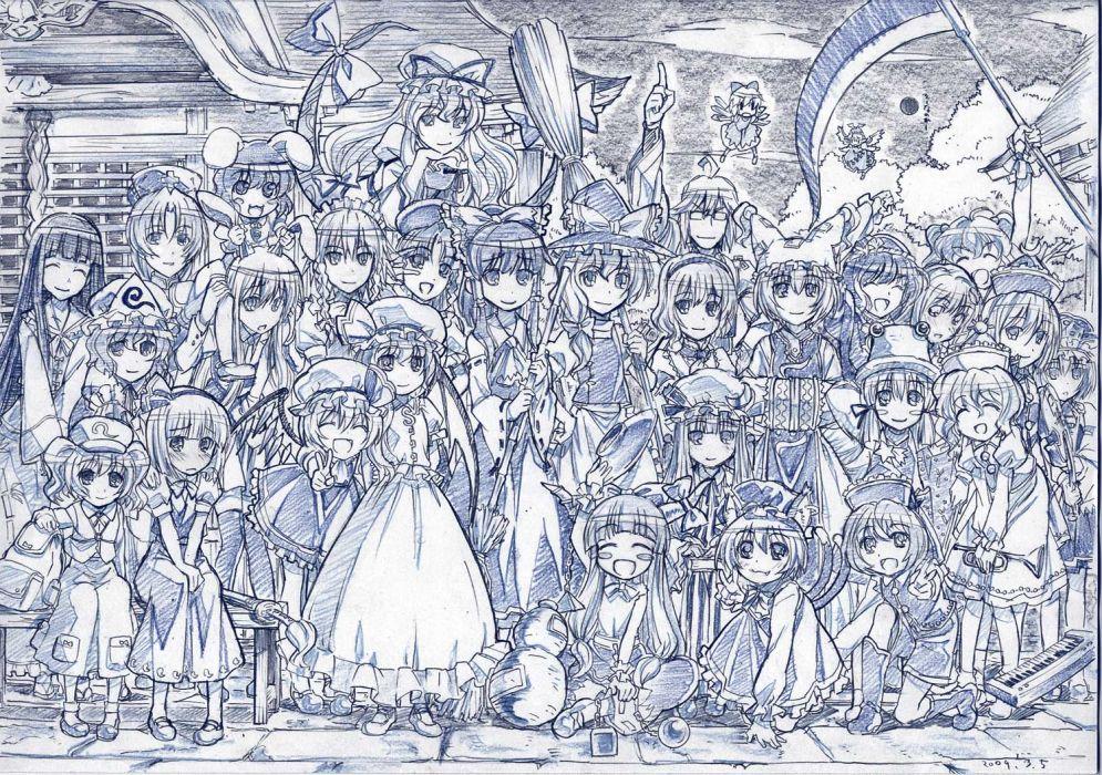chen cirno group hong meiling ibuki suika inaba tewi izayoi sakuya kochiya sanae monochrome sketch touhou yakumo ran yasaka kanako zaxzero wallpaper