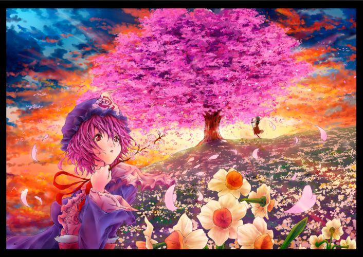 cherry blossoms flowers hakurei reimu onokoro401 petals saigyouji yuyuko touhou tree wallpaper