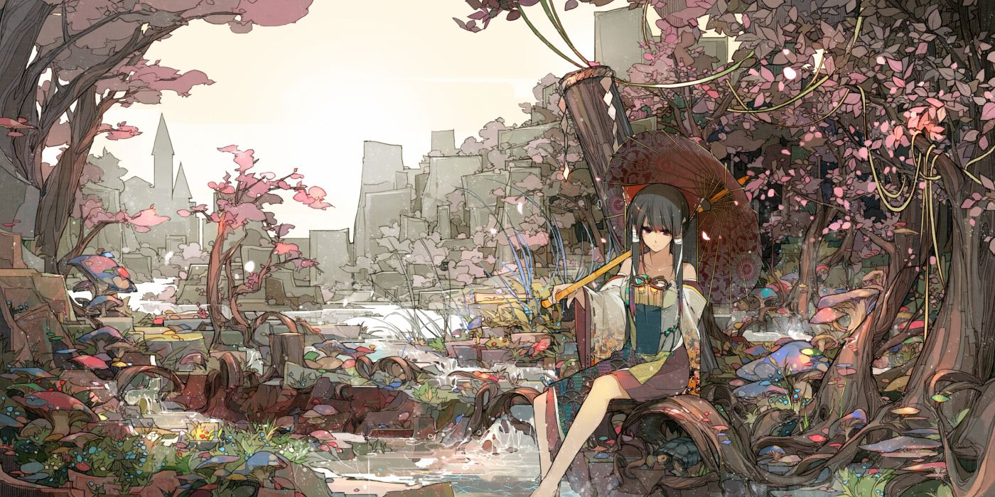 hakurei reimu japanese clothes sakura sora touhou tree water wallpaper