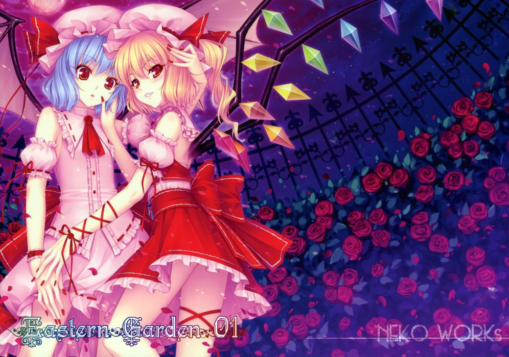 girls blonde hair blue hair blush dress flandre scarlet flowers red eyes remilia scarlet ribbons sayori short hair touhou vampire wings wallpaper